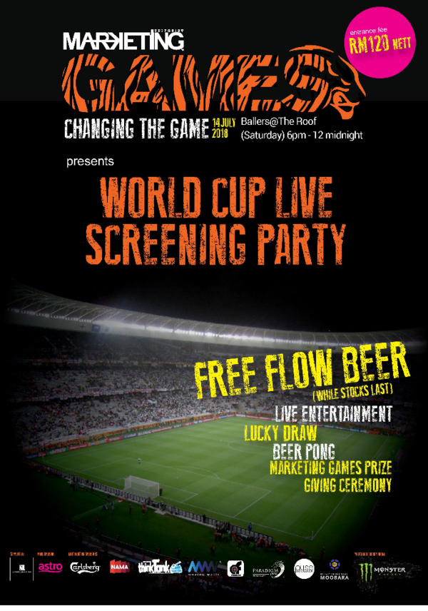 Get your hands on passes to MARKETING Games World Cup Live Screening Party!