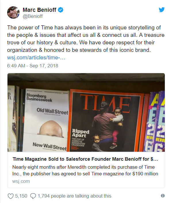 Time magazine sold to Salesforce CEO Marc Benioff and his