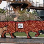 Fox made out of apples on display
